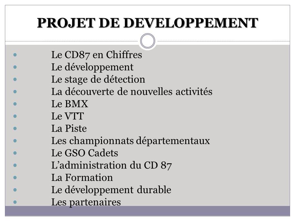 PROJET DE DEVELOPPEMENT Le CD87 en Chiffres Le développement Le stage de détection La découverte de nouvelles activités Le BMX Le VTT La Piste Les cha