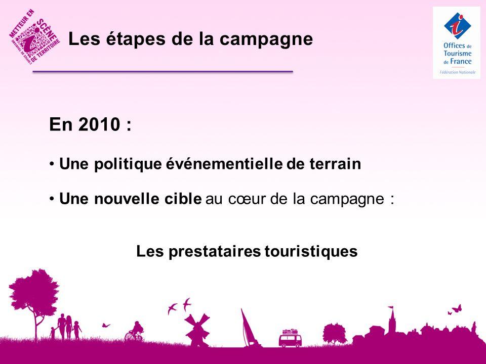 Les étapes de la campagne En 2010 : Une politique événementielle de terrain Une nouvelle cible au cœur de la campagne : Les prestataires touristiques