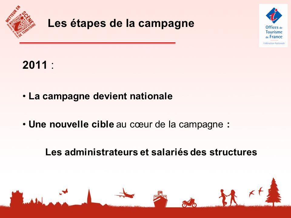 2011 : La campagne devient nationale Une nouvelle cible au cœur de la campagne : Les administrateurs et salariés des structures Les étapes de la campagne