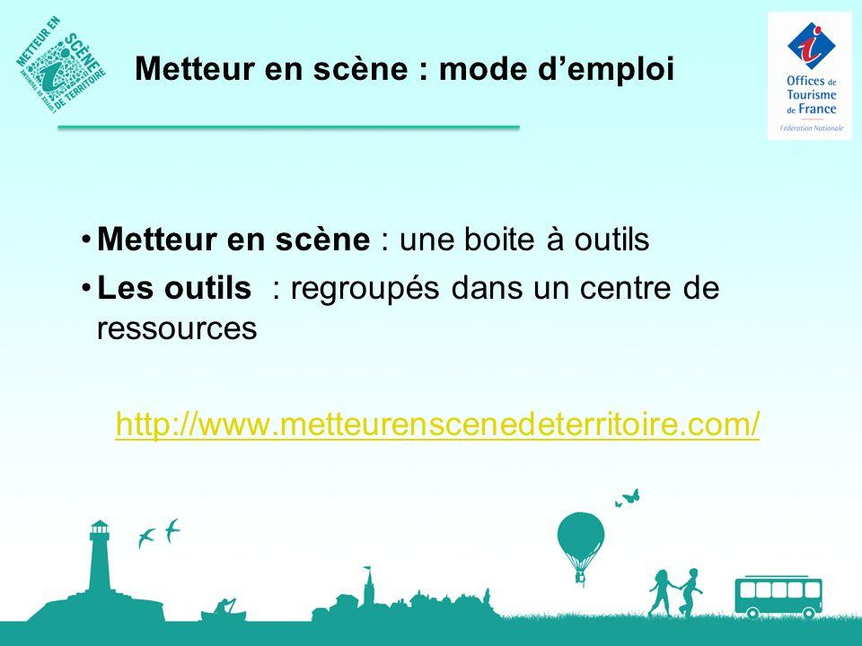 Metteur en scène : une boite à outils Les outils : regroupés dans un centre de ressources http://www.metteurenscenedeterritoire.com/ Metteur en scène : mode demploi