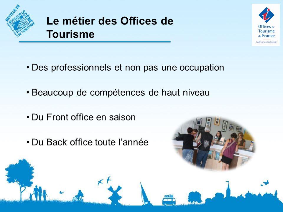 Des professionnels et non pas une occupation Beaucoup de compétences de haut niveau Du Front office en saison Du Back office toute lannée Le métier des Offices de Tourisme