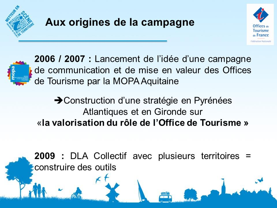 2006 / 2007 : Lancement de lidée dune campagne de communication et de mise en valeur des Offices de Tourisme par la MOPA Aquitaine Construction dune stratégie en Pyrénées Atlantiques et en Gironde sur «la valorisation du rôle de lOffice de Tourisme » 2009 : DLA Collectif avec plusieurs territoires = construire des outils Aux origines de la campagne
