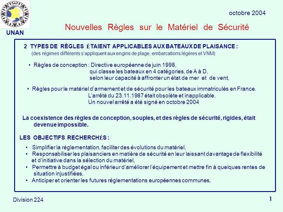Nouvelles Règles sur le Matériel de Sécurité octobre 2004 1 Division 224 2 TYPES DE RÈGLES É TAIENT APPLICABLES AUX BATEAUX DE PLAISANCE : (des régimes différents sappliquent aux engins de plage, embarcations légères et VNM) Règles de conception : Directive européenne de juin 1998, qui classe les bateaux en 4 catégories, de A à D, selon leur capacité à affronter un état de mer et de vent, Règles pour le matériel darmement et de sécurité pour les bateaux immatriculés en France.