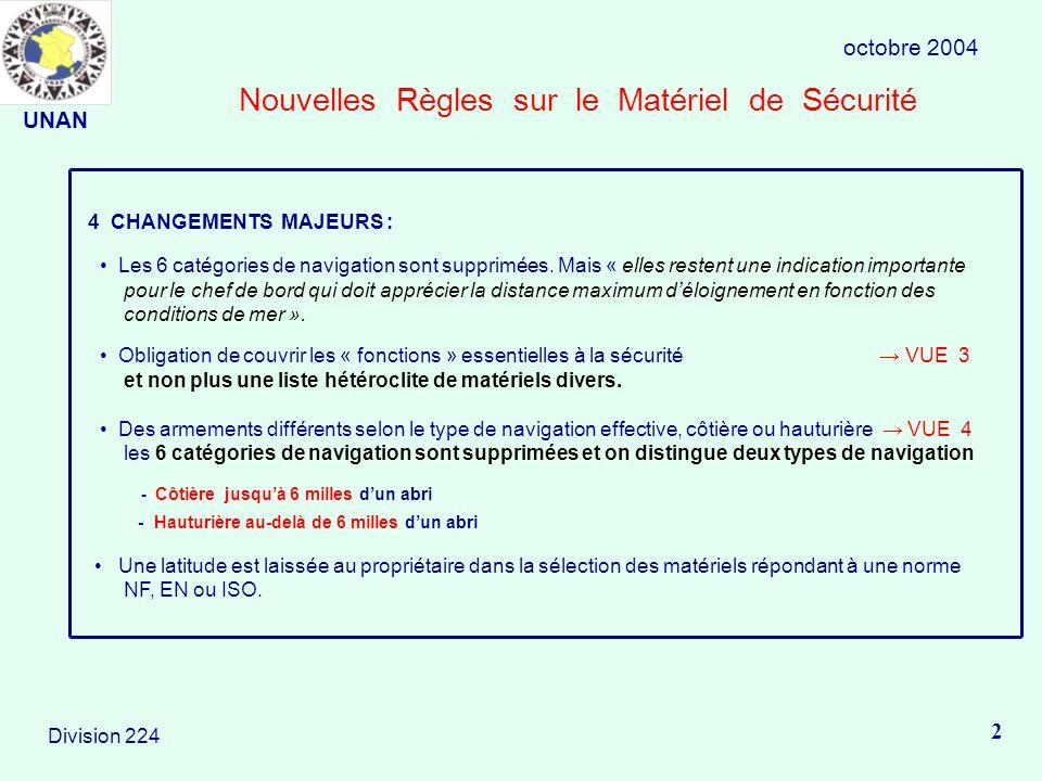 Nouvelles Règles sur le Matériel de Sécurité octobre 2004 2 Division 224 4 CHANGEMENTS MAJEURS : Les 6 catégories de navigation sont supprimées.