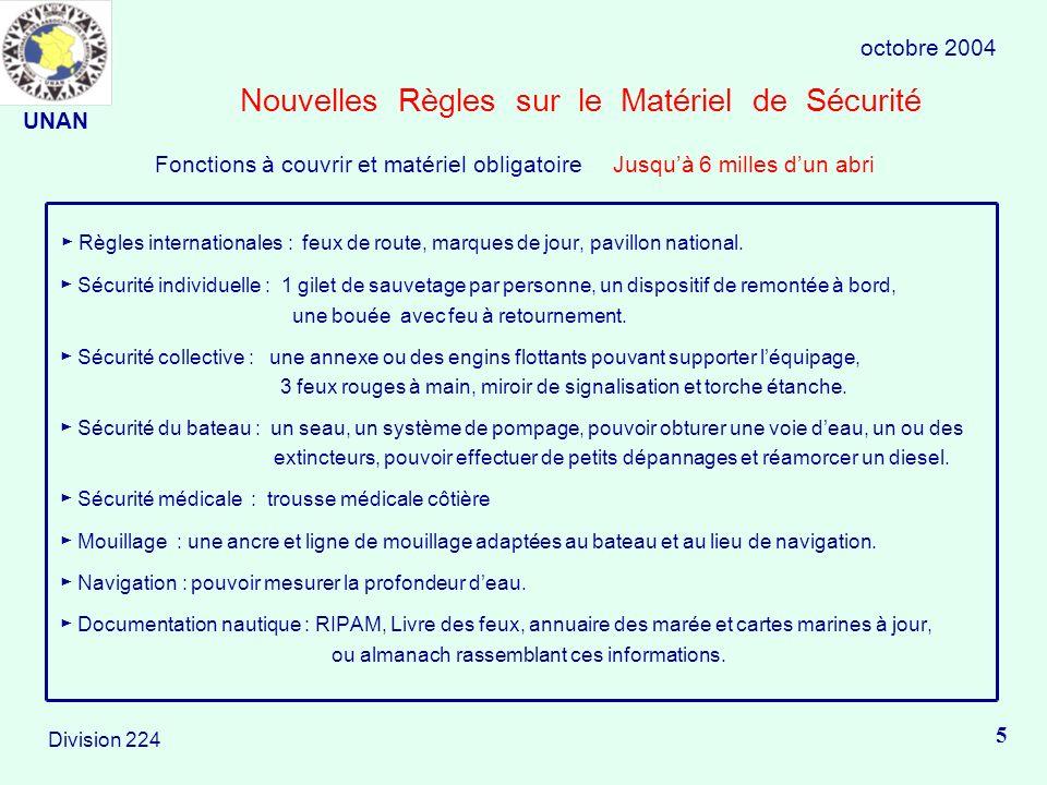 Nouvelles Règles sur le Matériel de Sécurité Règles internationales : feux de route, marques de jour, pavillon national.