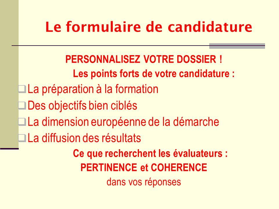 Le formulaire de candidature PERSONNALISEZ VOTRE DOSSIER ! Les points forts de votre candidature : La préparation à la formation Des objectifs bien ci