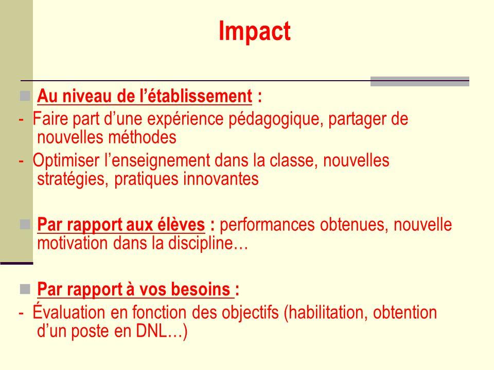 Impact Au niveau de létablissement : - Faire part dune expérience pédagogique, partager de nouvelles méthodes - Optimiser lenseignement dans la classe