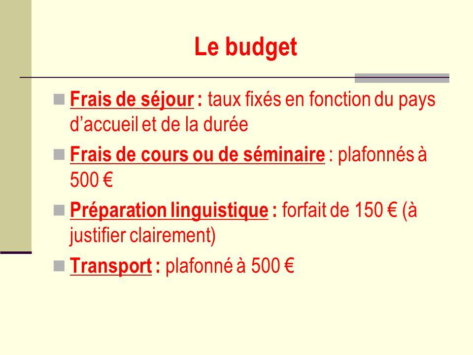 Le budget Frais de séjour : taux fixés en fonction du pays daccueil et de la durée Frais de cours ou de séminaire : plafonnés à 500 Préparation lingui