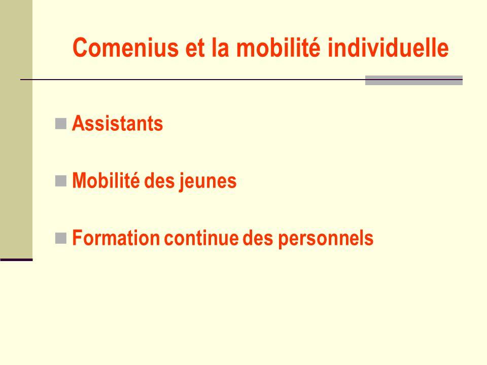 Comenius et la mobilité individuelle Assistants Mobilité des jeunes Formation continue des personnels