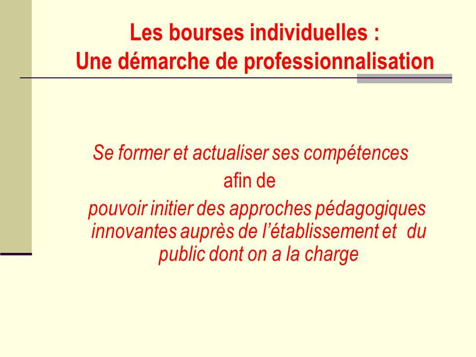 Les bourses individuelles : Une démarche de professionnalisation Se former et actualiser ses compétences afin de pouvoir initier des approches pédagog