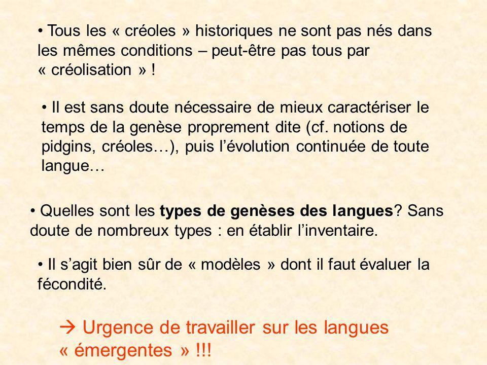 Conclusions Pour une nouvelle définition des langues créoles: est-ce que toutes les langues qui émergent dans des situations de contacts, avec rupture