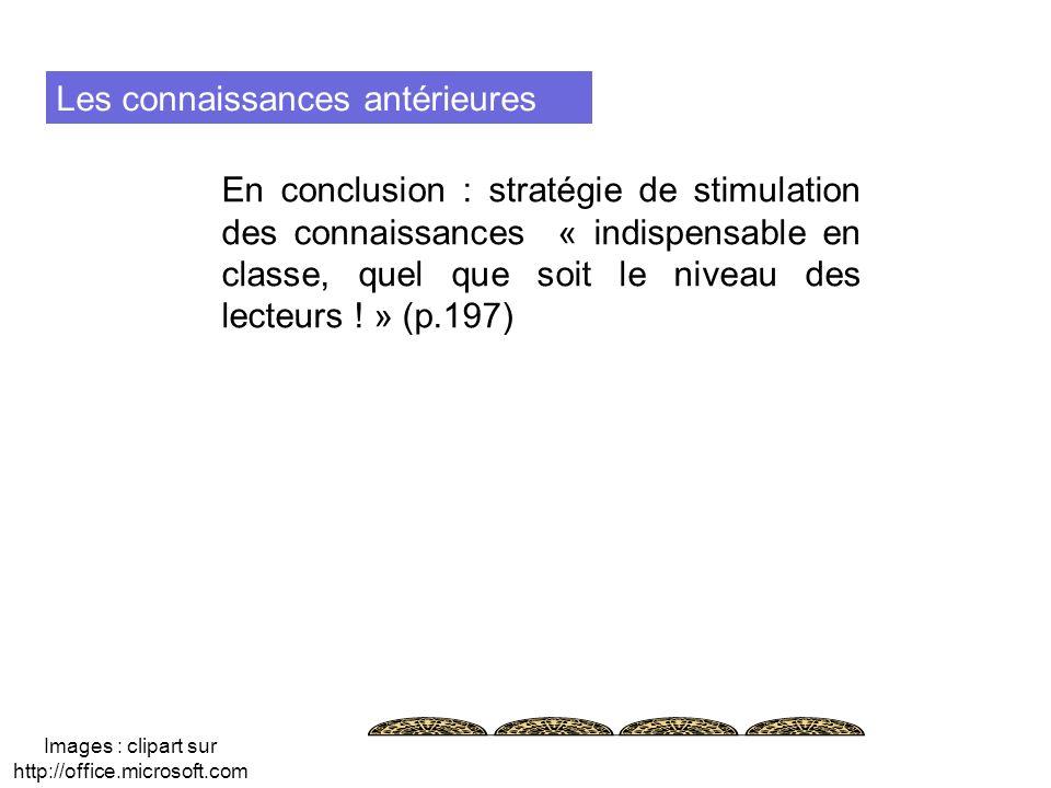 Les connaissances antérieures En conclusion : stratégie de stimulation des connaissances « indispensable en classe, quel que soit le niveau des lecteu