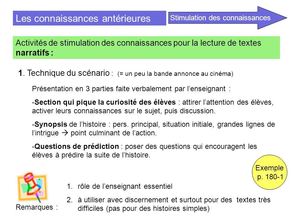 Les connaissances antérieures Activités de stimulation des connaissances pour la lecture de textes narratifs : 1. Technique du scénario : (= un peu la