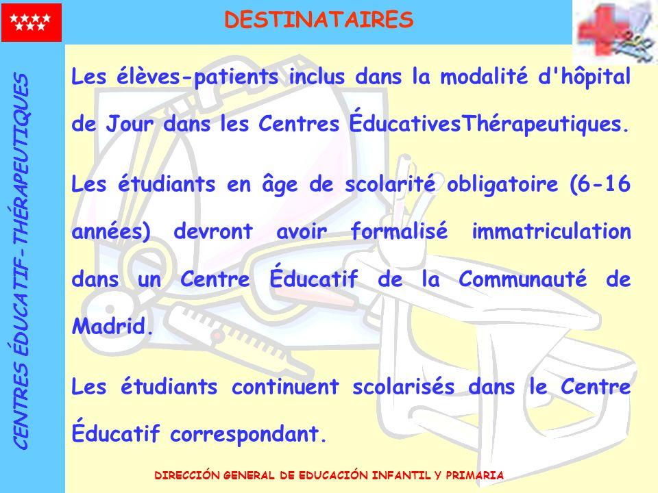 DIRECCIÓN GENERAL DE EDUCACIÓN INFANTIL Y PRIMARIA Les élèves-patients inclus dans la modalité d'hôpital de Jour dans les Centres ÉducativesThérapeuti