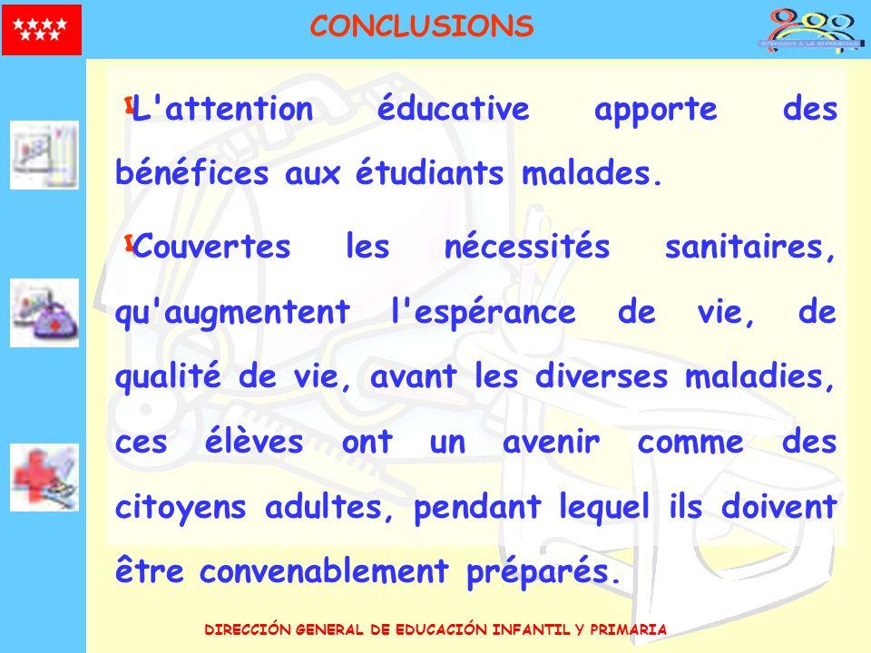 DIRECCIÓN GENERAL DE EDUCACIÓN INFANTIL Y PRIMARIA CONCLUSIONS L'attention éducative apporte des bénéfices aux étudiants malades. Couvertes les nécess