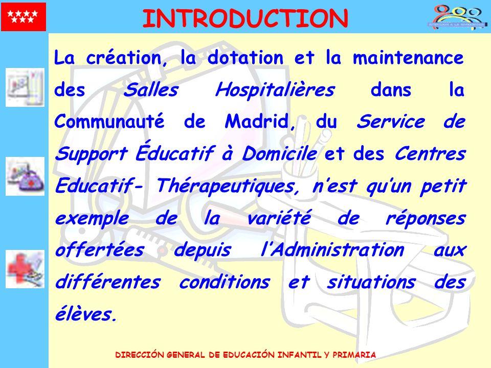 DIRECCIÓN GENERAL DE EDUCACIÓN INFANTIL Y PRIMARIA INTRODUCTION La création, la dotation et la maintenance des Salles Hospitalières dans la Communauté