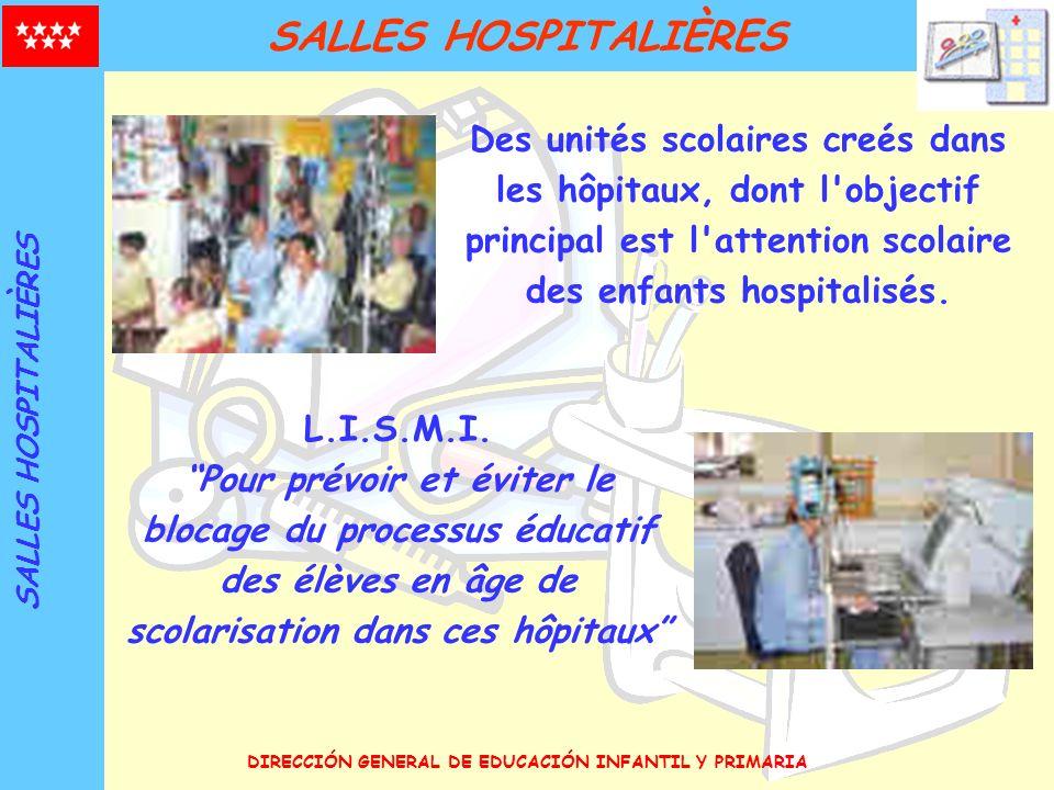 DIRECCIÓN GENERAL DE EDUCACIÓN INFANTIL Y PRIMARIA HISTOIRE 1953 Première unité scolaire: Hospital Clínico-San Carlos ANNÉES 50 DÉBUT 1961-1966: 7 nouvelles Salles Hospitalières ANNÉES 60 POLIOMYELITIS ANNÉES 80 SYNDROME TOXIQUE DE L HUILE DE VIOL SYNDROME TOXIQUE DE L HUILE DE VIOL 4 nouvelles Salles Hospitalières Attention à la marge des Administrations ANNÉES 40 PRÉCÉDENTS ANNÉES 90 GÉNÉRALISATION 4 nouvelles Salles Hospitalières 2007-08 SITUATION ACTUELLE Salles Hospitalières dans ces hôpitaux qui ont des lits pédiatriques d hospitalisation moyenne et de longue durée.