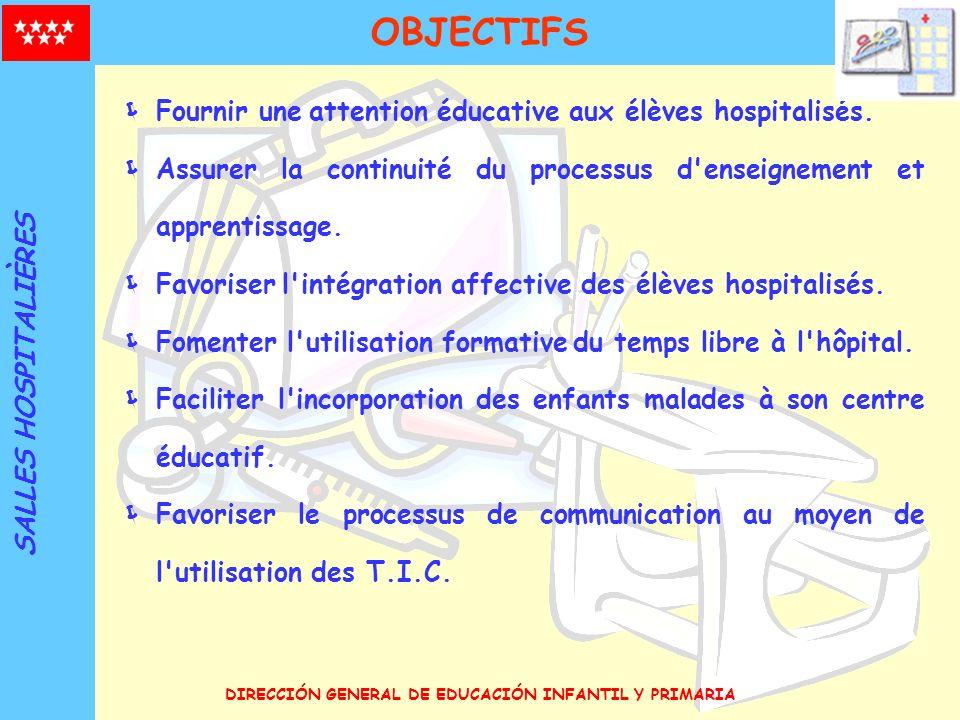 DIRECCIÓN GENERAL DE EDUCACIÓN INFANTIL Y PRIMARIA OBJECTIFS Fournir une attention éducative aux élèves hospitalisés. Assurer la continuité du process
