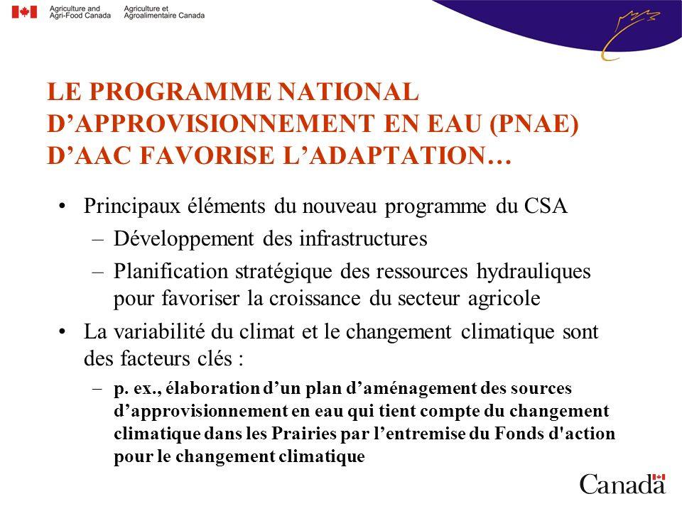 Principaux éléments du nouveau programme du CSA –Développement des infrastructures –Planification stratégique des ressources hydrauliques pour favoriser la croissance du secteur agricole La variabilité du climat et le changement climatique sont des facteurs clés : –p.