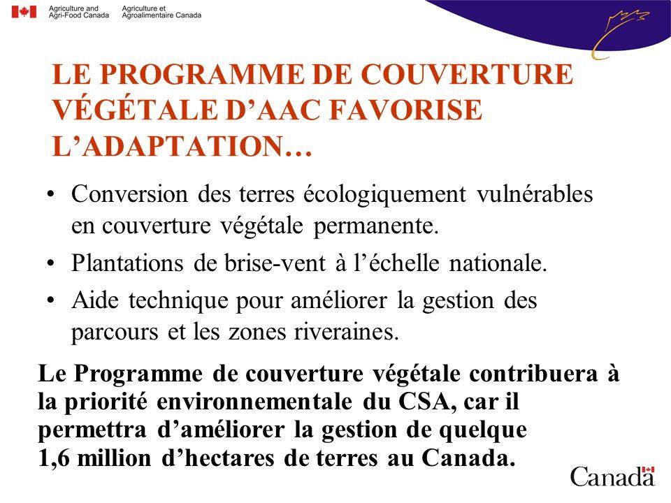 Conversion des terres écologiquement vulnérables en couverture végétale permanente.