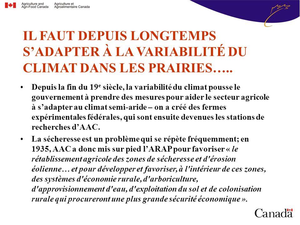 IL FAUT DEPUIS LONGTEMPS SADAPTER À LA VARIABILITÉ DU CLIMAT DANS LES PRAIRIES…..
