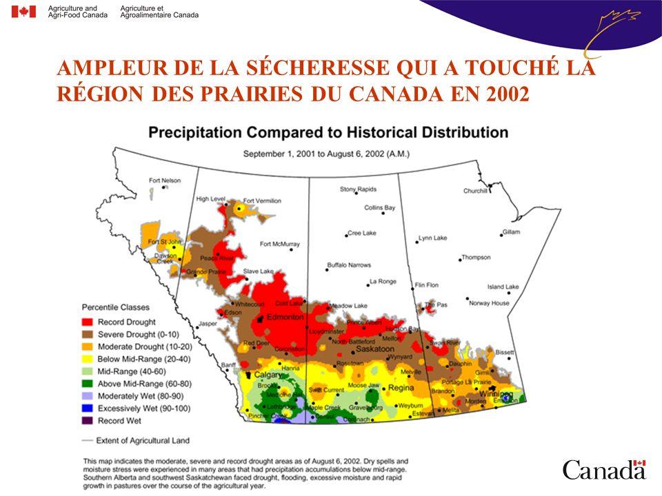 AMPLEUR DE LA SÉCHERESSE QUI A TOUCHÉ LA RÉGION DES PRAIRIES DU CANADA EN 2002