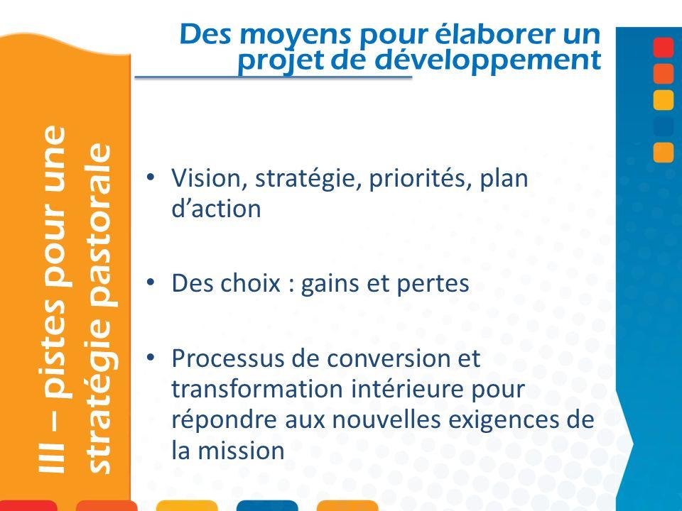 III – pistes pour une stratégie pastorale Des moyens pour élaborer un projet de développement Vision, stratégie, priorités, plan daction Des choix : gains et pertes Processus de conversion et transformation intérieure pour répondre aux nouvelles exigences de la mission