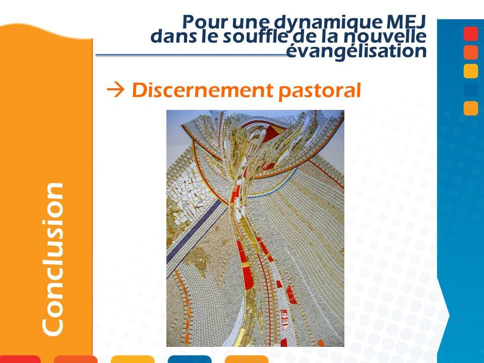 Discernement pastoral Conclusion Pour une dynamique MEJ dans le souffle de la nouvelle évangélisation