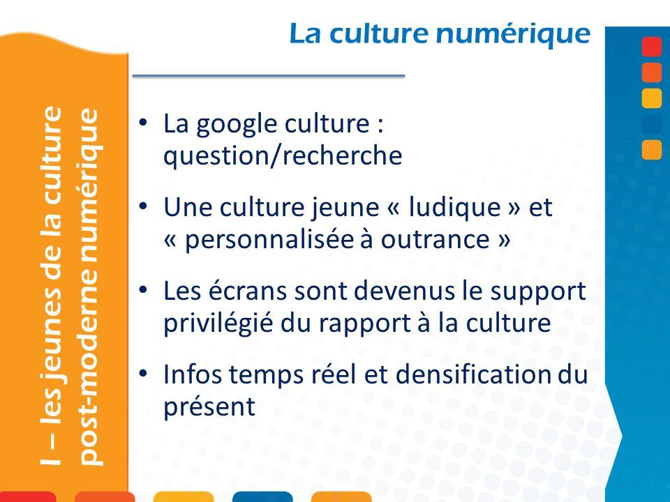 La google culture : question/recherche Une culture jeune « ludique » et « personnalisée à outrance » Les écrans sont devenus le support privilégié du rapport à la culture Infos temps réel et densification du présent La culture numérique