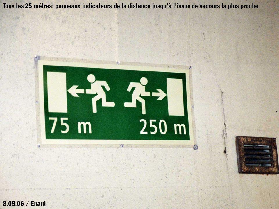 Tous les 25 mètres: panneaux indicateurs de la distance jusquà lissue de secours la plus proche 8.08.06 / Enard