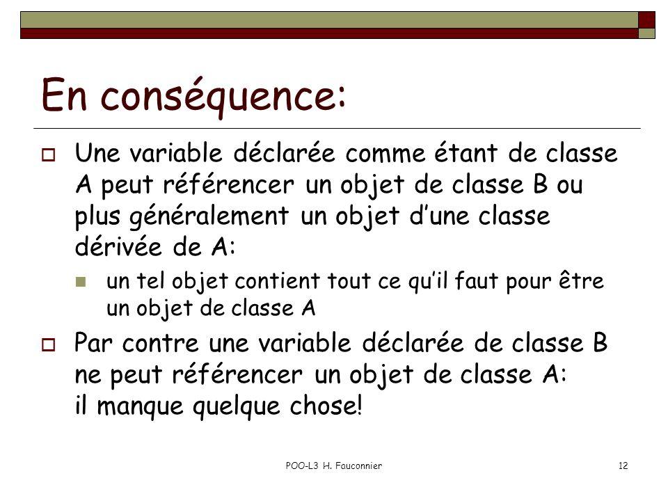POO-L3 H. Fauconnier12 En conséquence: Une variable déclarée comme étant de classe A peut référencer un objet de classe B ou plus généralement un obje