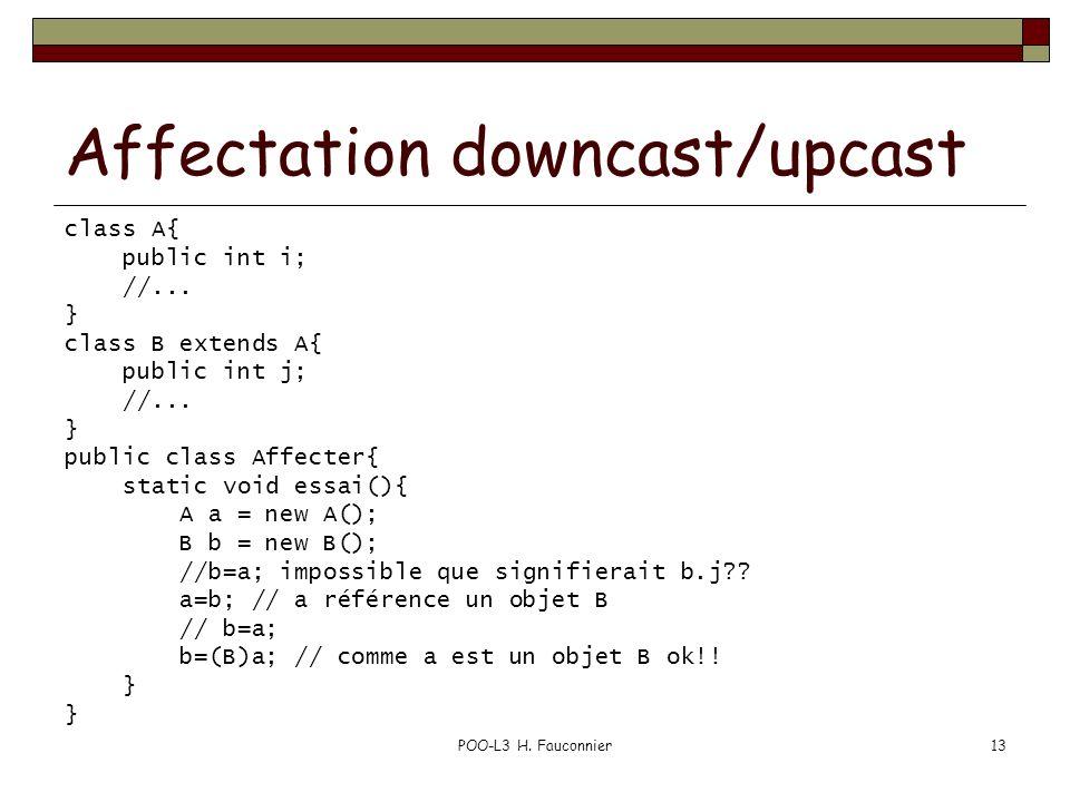POO-L3 H. Fauconnier13 Affectation downcast/upcast class A{ public int i; //... } class B extends A{ public int j; //... } public class Affecter{ stat