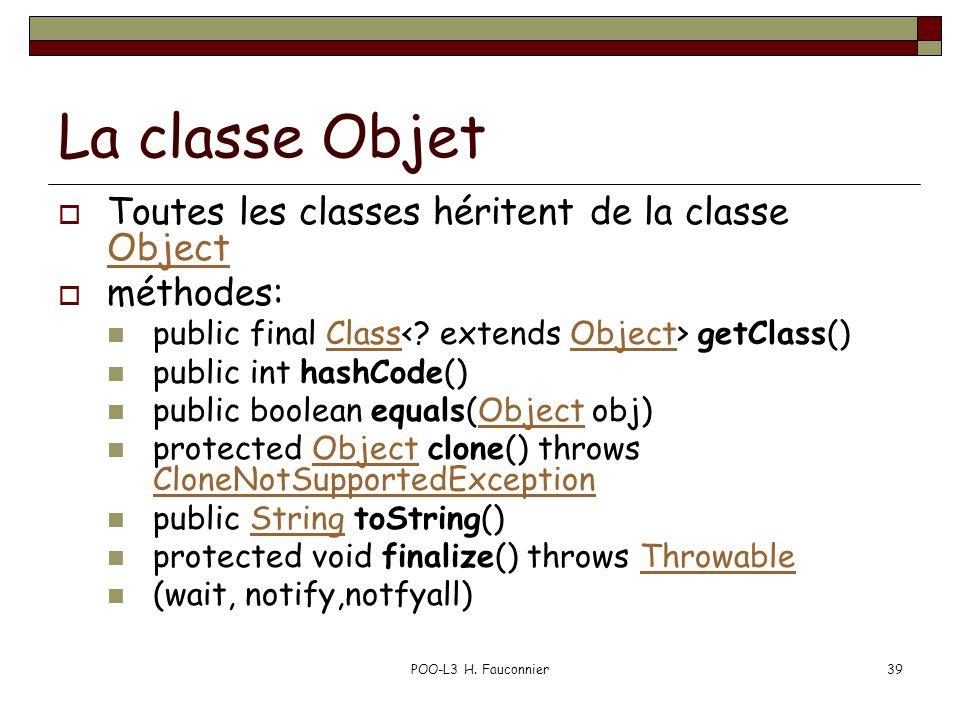 POO-L3 H. Fauconnier39 La classe Objet Toutes les classes héritent de la classe Object Object méthodes: public final Class getClass()ClassObject publi