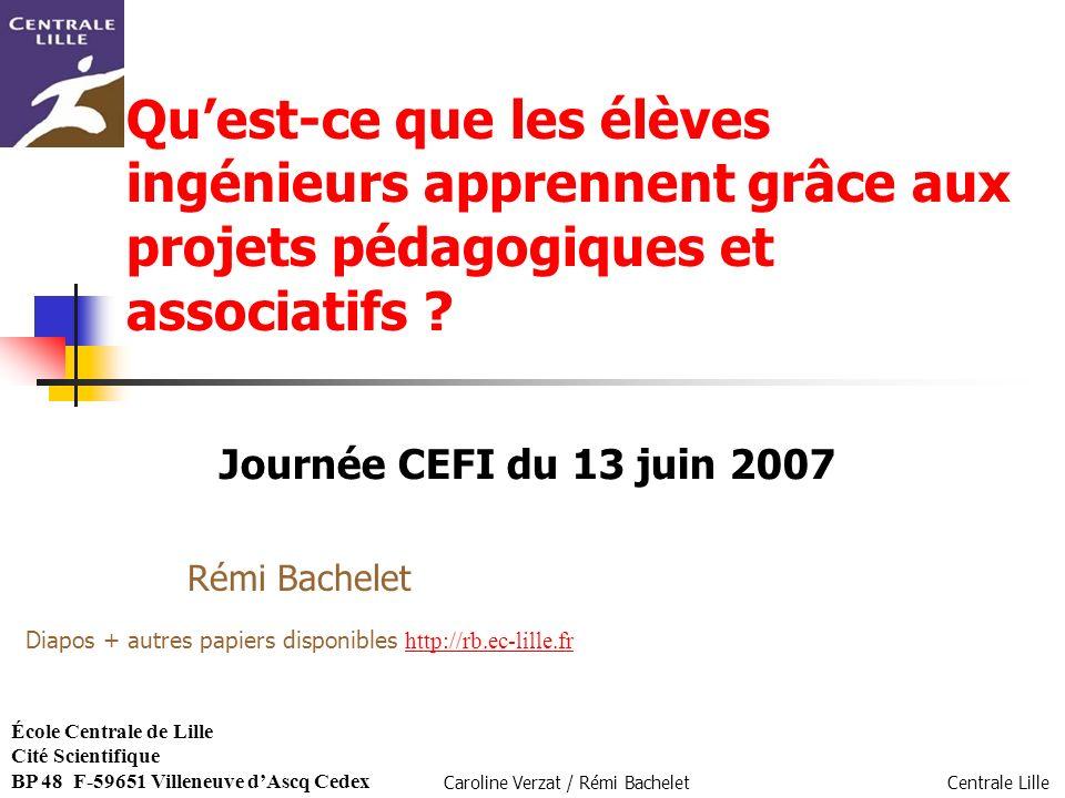 Centrale Lille Caroline Verzat / Rémi Bachelet Quest-ce que les élèves ingénieurs apprennent grâce aux projets pédagogiques et associatifs ? Journée C