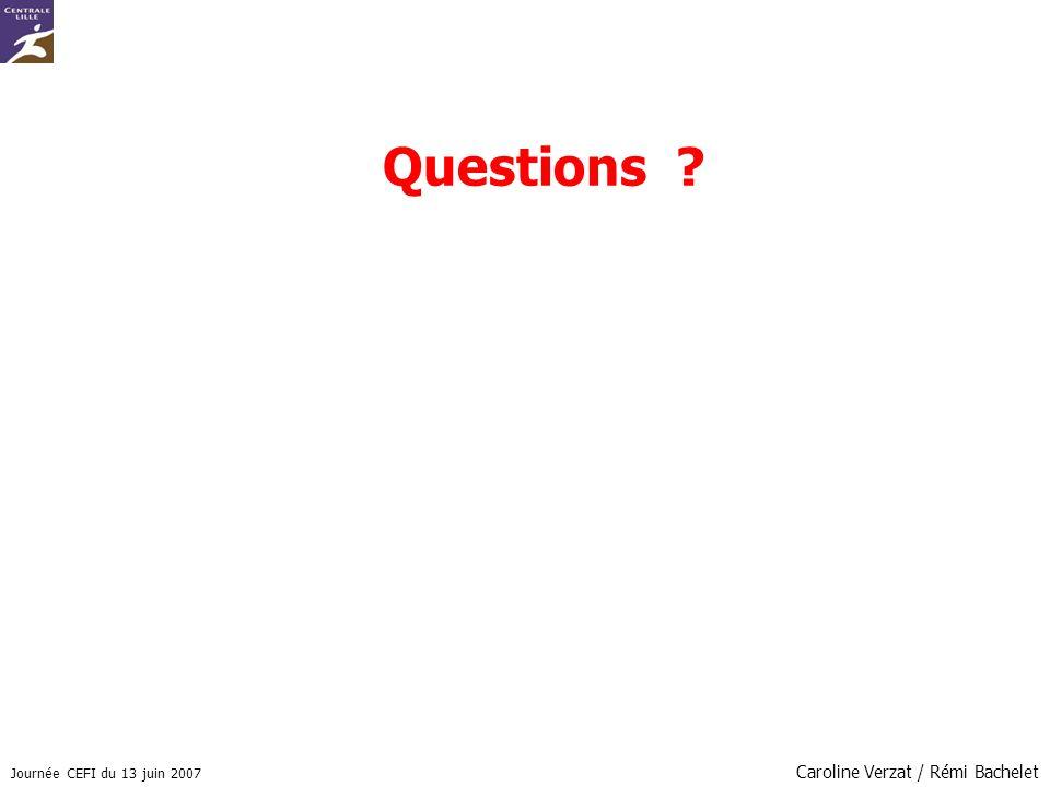Journée CEFI du 13 juin 2007 Caroline Verzat / Rémi Bachelet Questions ?
