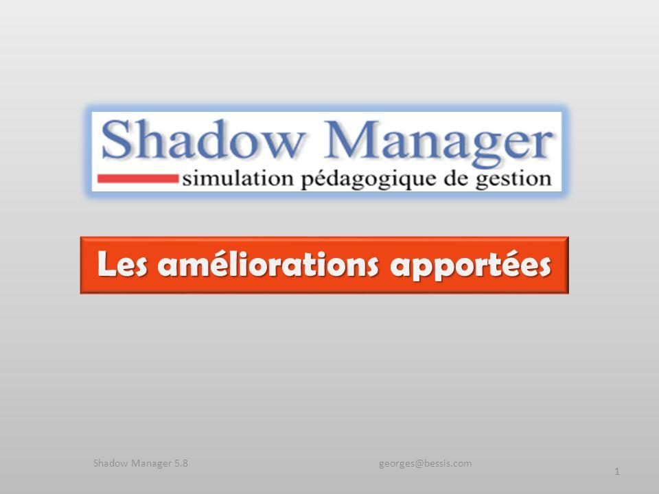 Les améliorations apportées 1 Shadow Manager 5.8 georges@bessis.com
