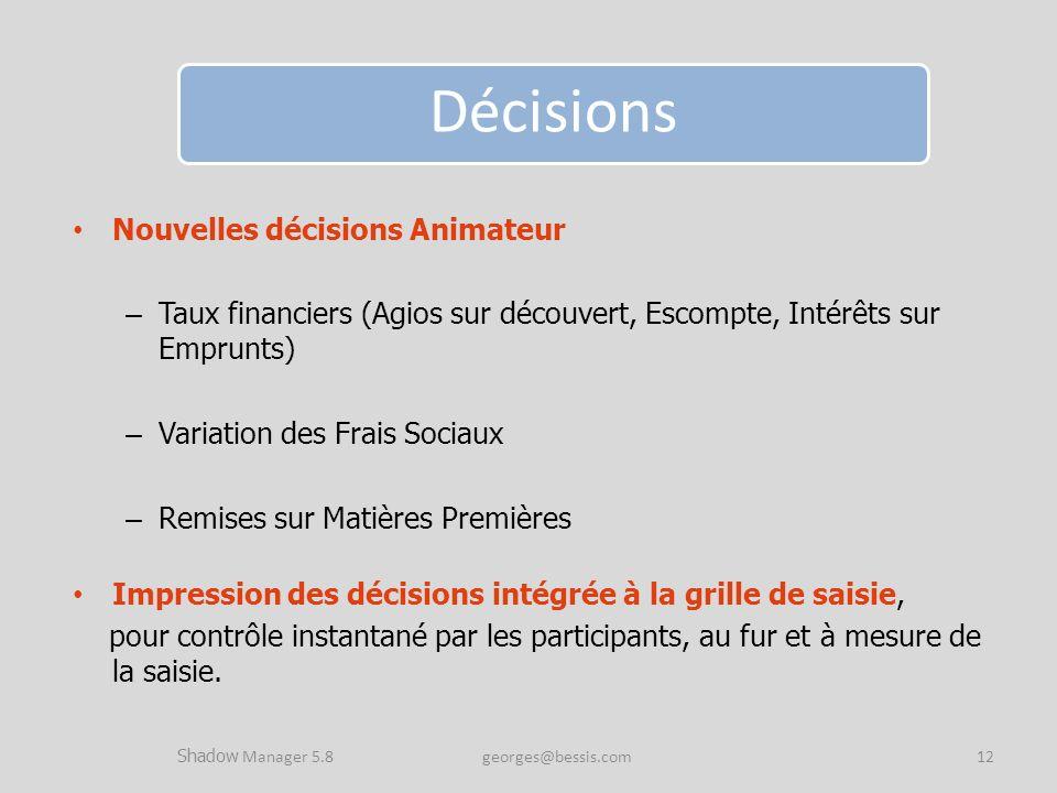 Nouvelles décisions Animateur – Taux financiers (Agios sur découvert, Escompte, Intérêts sur Emprunts) – Variation des Frais Sociaux – Remises sur Mat