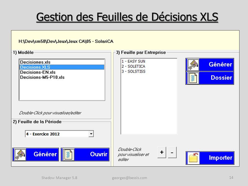 Gestion des Feuilles de Décisions XLS Shadow Manager 5.8 georges@bessis.com 14