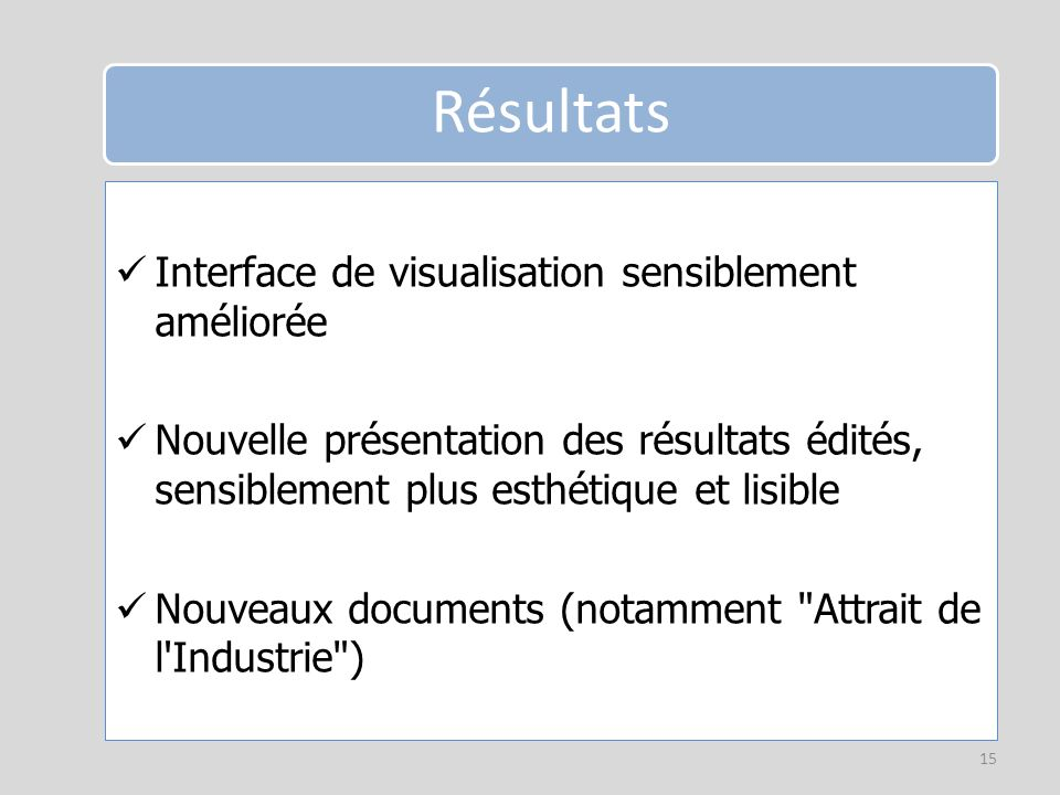 Interface de visualisation sensiblement améliorée Nouvelle présentation des résultats édités, sensiblement plus esthétique et lisible Nouveaux documents (notamment Attrait de l Industrie ) 15 Résultats