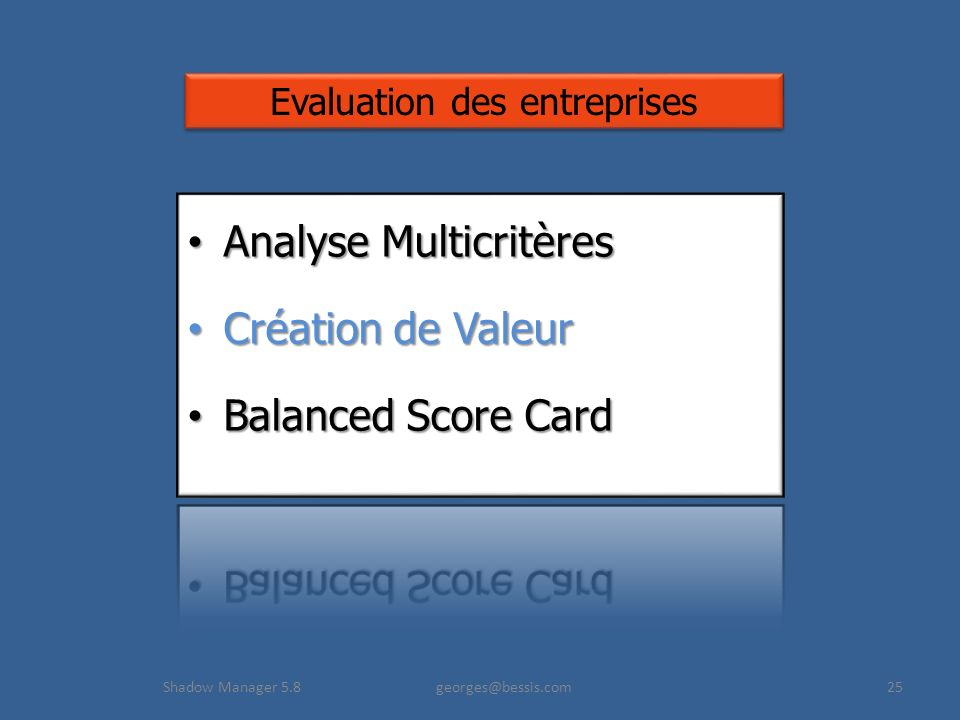 Shadow Manager 5.8 georges@bessis.com25 Evaluation des entreprises