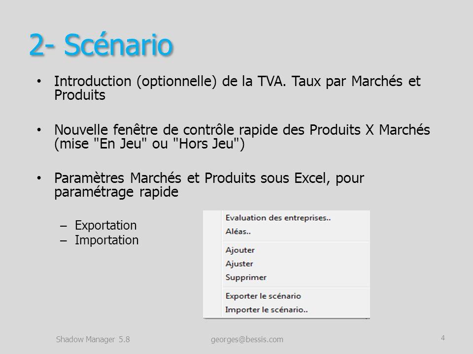 2- Scénario Introduction (optionnelle) de la TVA. Taux par Marchés et Produits Nouvelle fenêtre de contrôle rapide des Produits X Marchés (mise