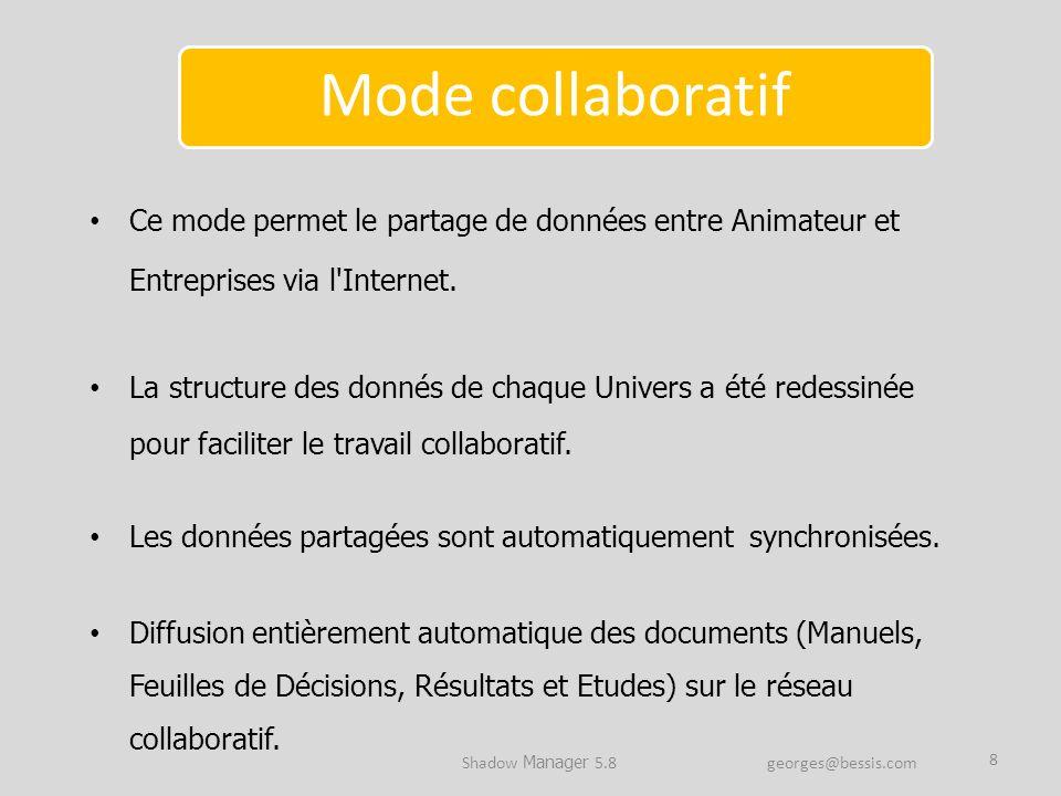 Ce mode permet le partage de données entre Animateur et Entreprises via l'Internet. La structure des donnés de chaque Univers a été redessinée pour fa