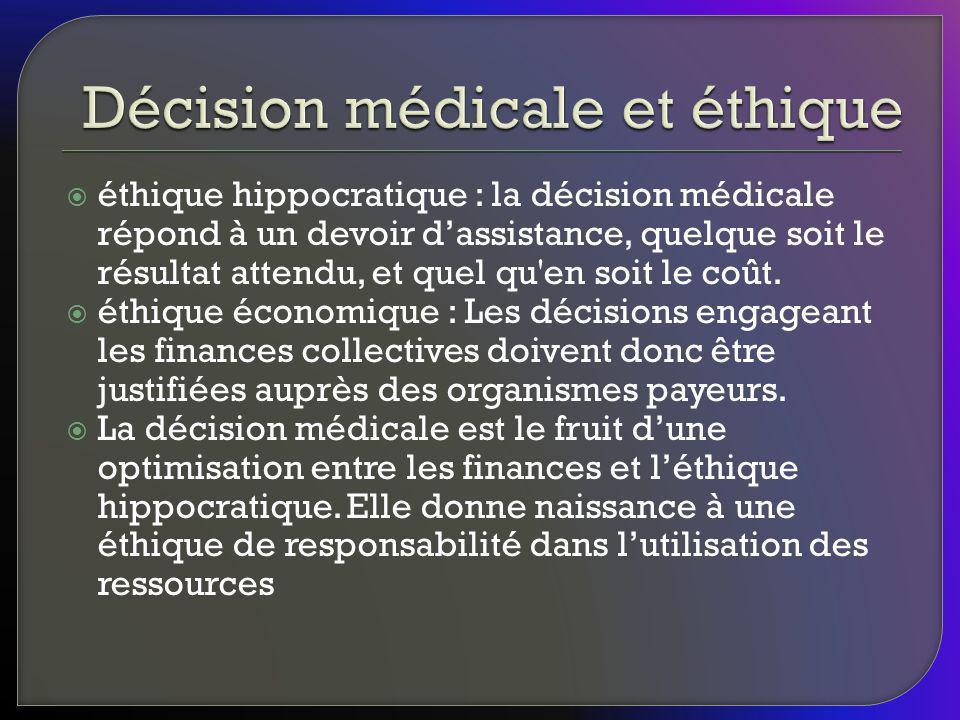 éthique hippocratique : la décision médicale répond à un devoir dassistance, quelque soit le résultat attendu, et quel qu'en soit le coût. éthique éco