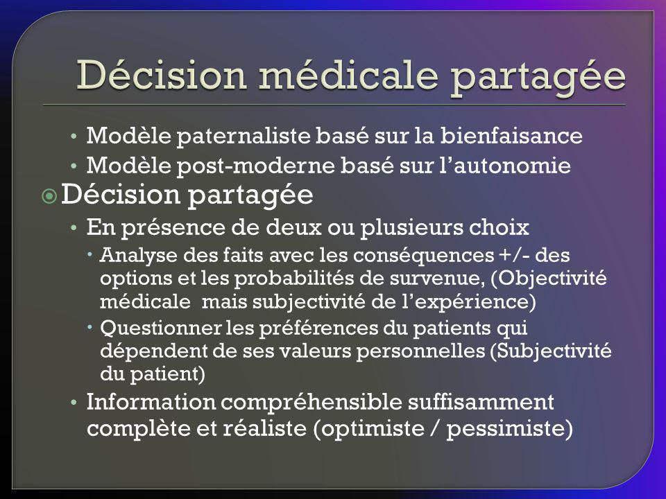 Modèle paternaliste basé sur la bienfaisance Modèle post-moderne basé sur lautonomie Décision partagée En présence de deux ou plusieurs choix Analyse