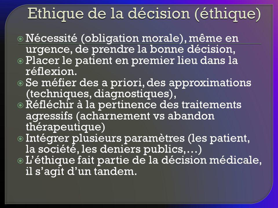 Nécessité (obligation morale), même en urgence, de prendre la bonne décision, Placer le patient en premier lieu dans la réflexion. Se méfier des a pri
