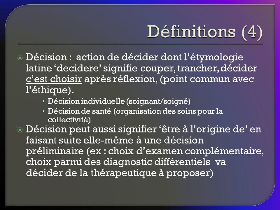 Décision : action de décider dont létymologie latine decidere signifie couper, trancher, décider cest choisir après réflexion, (point commun avec léth