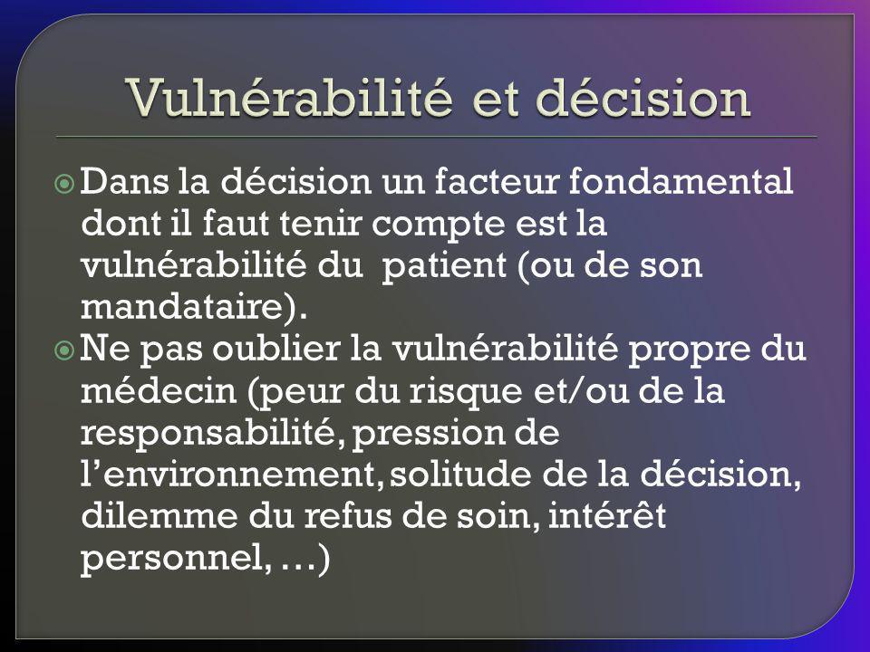 Dans la décision un facteur fondamental dont il faut tenir compte est la vulnérabilité du patient (ou de son mandataire). Ne pas oublier la vulnérabil