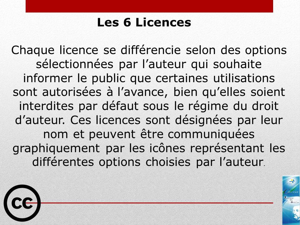 Les 6 Licences Chaque licence se différencie selon des options sélectionnées par lauteur qui souhaite informer le public que certaines utilisations so