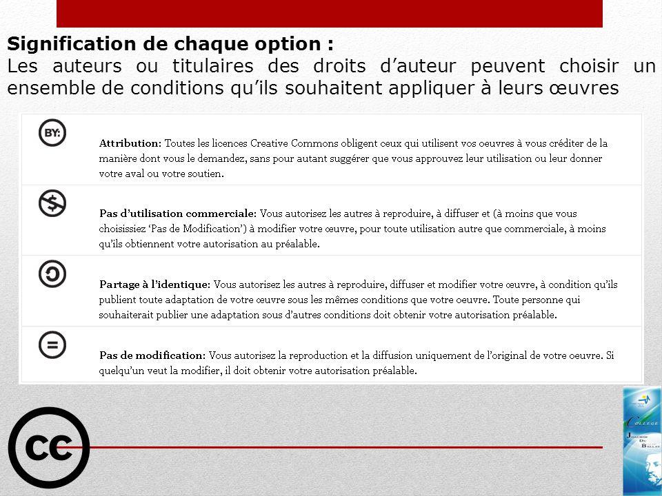 Signification de chaque option : Les auteurs ou titulaires des droits dauteur peuvent choisir un ensemble de conditions quils souhaitent appliquer à l