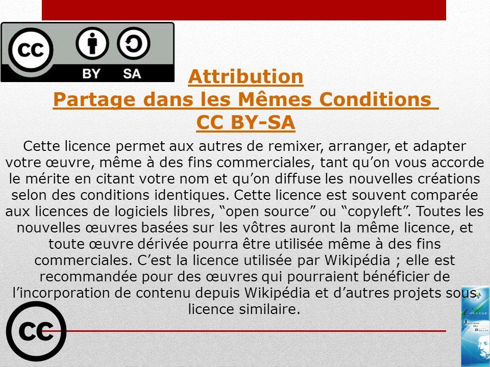 Attribution Partage dans les Mêmes Conditions CC BY-SA Cette licence permet aux autres de remixer, arranger, et adapter votre œuvre, même à des fins c